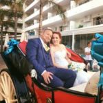 Wedding couple in a carriage