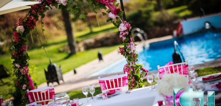 Spanish hacienda wedding reception set up Mijas