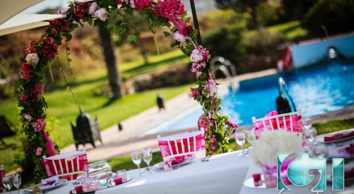 Spanish hacienda wedding reception set up Mijas