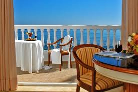 Balcony overlooking sea