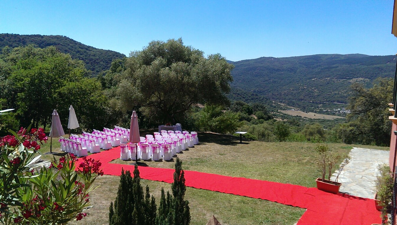 Ceremony area with Hot Pink Bows