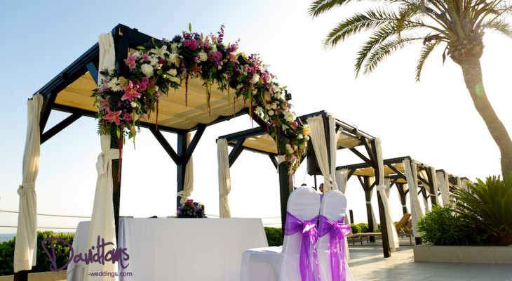 Beach club ceremony set up Marbella