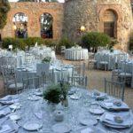 Wedding reception set with circular tables