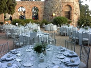 Wedding reception set with circular tables